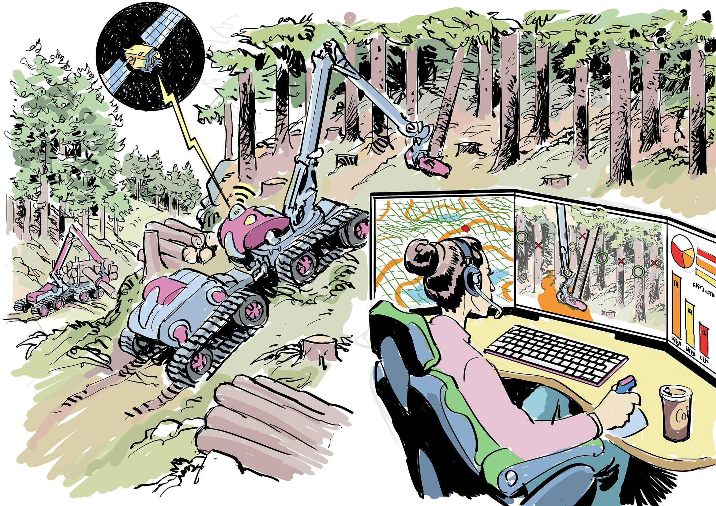 Femal at computer in foreground, machines cutting down trees in background. Illustration.