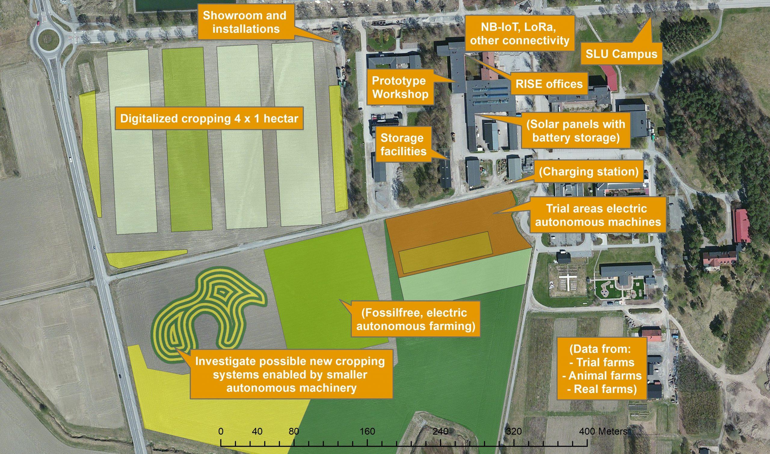 Satellite map of Testbed facilities at SLU campus. Photo.